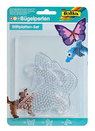 folia 73212 - Bügelperlen Stiftplatten Set Tierwelt, 3 transparente Steckplatten für Bügelperlen mit einem Durchmesser von 5 mm, Delfin, Hund und Schmetterling