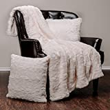 Chanasya Super Soft Fuzzy Faux Fur Throw Blankets and Pillow Cover 3-Piece Set - Fluffy Plush Lightweight Cozy Snuggly with Sherpa for Couch Sofa Living Room Bedroom Decor (50x65 Inches) Ivory Blanket
