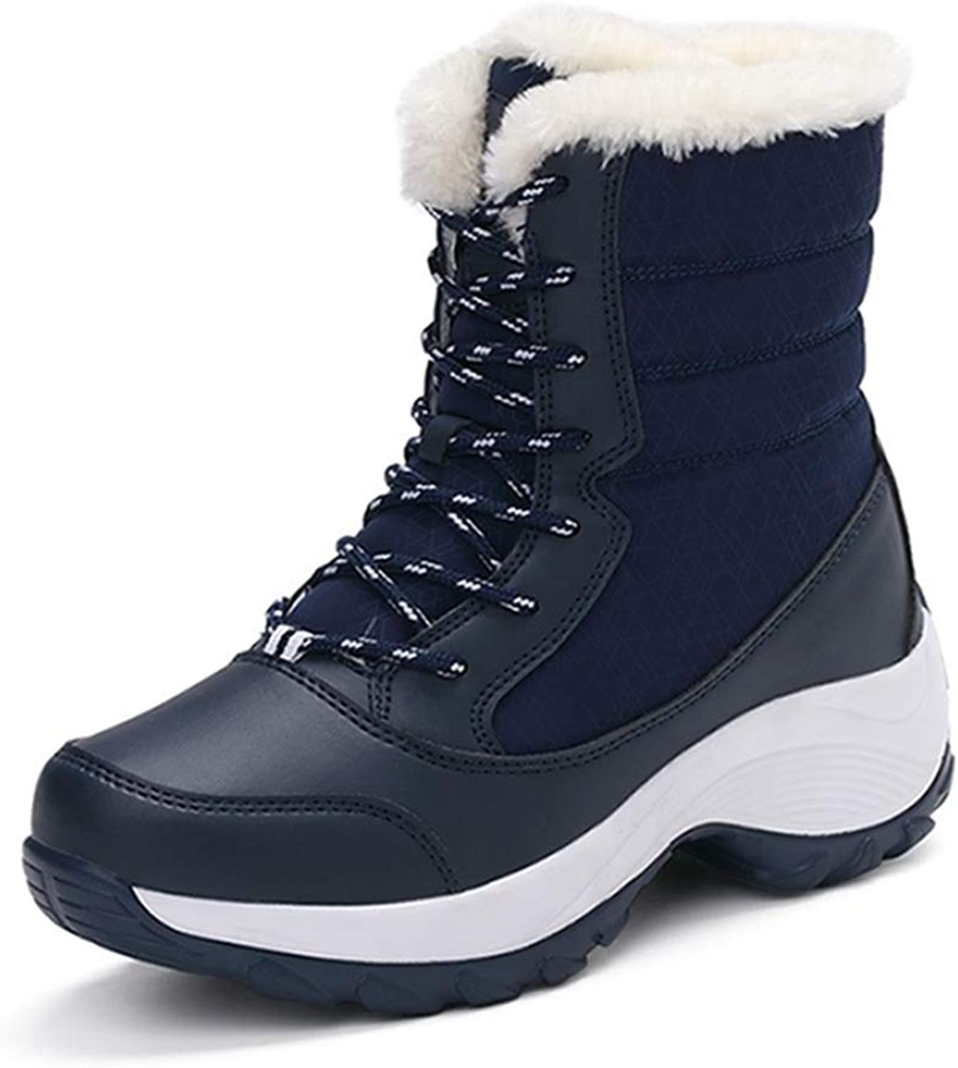 Fay Waters Womens Thick Fur Ankle Booties Waterproof Non-Slip Winter shoes Lace Up Platform Warm Snow Boots