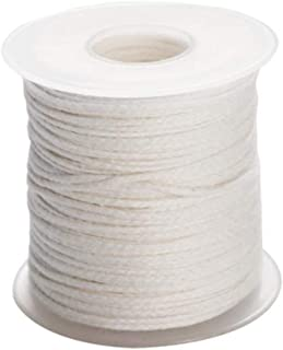 erioctry 1 Roll 200Feet (61M) Organic Cotton Candle Wicks DIY Natural Candle Braided Wicks Twine String Spools Rope for Ca...