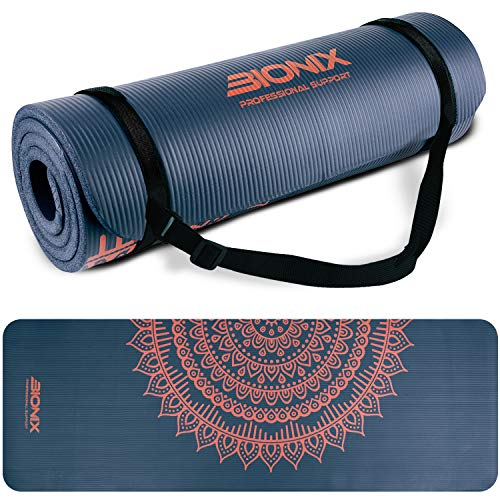 Bionix Blue Premium Printed Pilates Yoga NBR Foam Exercise Mats With Carry Strap - 15mm Thick High Density, Extra Large 1.35kg Padded, Design Mats For Fitness Workout BLUE