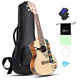 Hricane Concert Ukulele 23 Inch Spruce Flower Top Sapele Professional Ukuleles for Beginners with Bag String Set