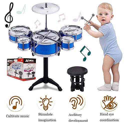 SKLOER Kids Drum Set-Educational Percussion Instrument Kids Toy Stimulating Children's Creativity-Jazz Drum Set Ideal Gift for Kids,Boys and Girls - Blue
