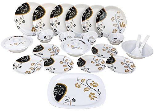 Real Orbit Dinner Set of 32 Pieces with Brownish Prints, Serving for 6