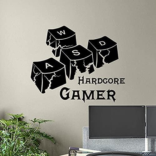 Hardcore Gamer pegatina de pared teclas de teclado sala de jugador póster juegos de ordenador vinilo pegatina impresión regalo Videojuego arte 2268