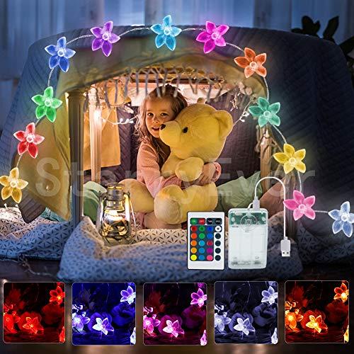 40 LED Batteriebetrieben Rosa Blume Lichterketten mit Fernbedienung, 4 Modi Bunt Lichter für kinderzimmer Weihnachten Hochzeit Geburtstag Innen Draussen Deko, Geschenk für Freundin Geschenk für Mama
