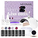 NEONAIL Weihnachtsset Kiss Mas Set 5x UV Nagellack 3ml LED Lampe 8W/24W + Top und Base Zubehör NEONAIL Nagelstudioset Geschenkbox Nagelstudio Set Nail Set
