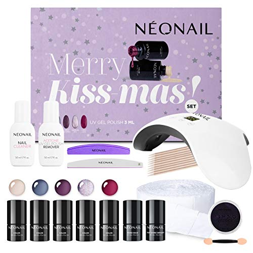 NEONAIL Weihnachtsset Kiss Mas Set 5x UV Nagellack 3ml LED Lampe 8W/24W + Top und Base Zubehör NEONAIL Nagelstudioset Geschenkbox Nagelstudio Set Nail Set