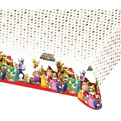 Amscan 9901539 - Tischdecke Super Mario, 1 Stück, Größe 120 x 180 cm, Kunststoff, wasserabweisend, Weiß mit mehrfarbigen Motiven, Luigi, Prinzessin, Super Mario World, Geburtstag, Mottoparty