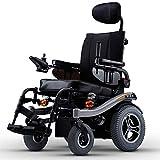 Personas de Edad Avanzada con Discapacidad Silla de Ruedas Eléctrica Aleación de Aluminio Ligero Respaldo Alto Acostado Trasero Ciclomotor Amortiguador