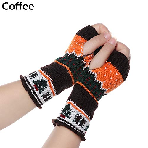 YUKNICO dames vingerloze handschoenen kerstboom lange gebreide handschoenen winter dik warm gehaakt elastische zachte armbanden met duimgat