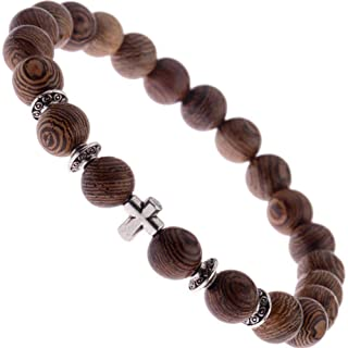 Wood Beaded Cross Bracelet for Men: Confirmation Gifts for Boys First Communion Religious Cross Statement Adjustable.