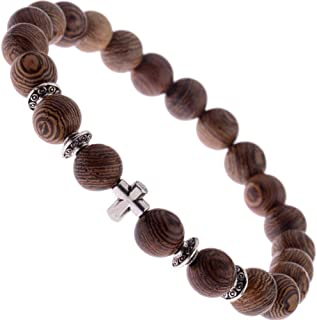 wood rosary bracelet with cross