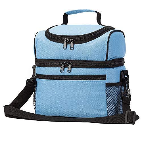Picknick-Tasche Picknick Isolierung Thick Eisbeutel Doppel Can Be Slung Studenten Lunch Box Bag Lunch zusammenklappbarer Picknickkorb für Familien-Picknick (Color : Blue, Size : 26x20x26cm)
