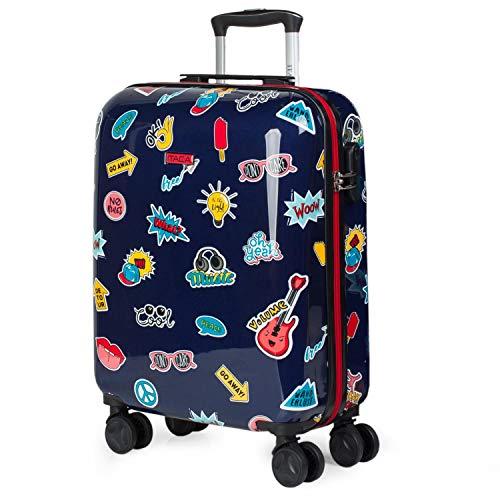 ITACA - Koffer voor kinderen. Trolley met 4 wielen. Bedrukt polycarbonaat. Handbagage. Stijf, comfortabel en lichtgewicht. Kwaliteit en design. Cabine goedgekeurd 702250, Color Marine