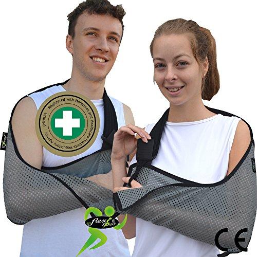 Apoyabrazos, Soporte de brazo, cabestrillo de hombro (Gris) LUJOSO profundo, ligero, flujo de aire cómodo. Ajustable UN TAMAÑO PARA TODOS y se adapta a los brazos L o R. Unisexo.