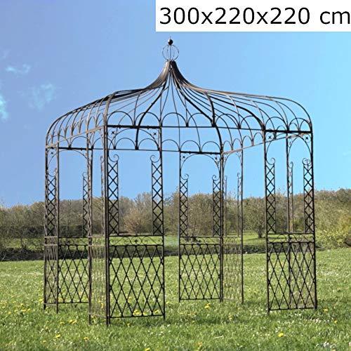 L'ORIGINALE DECO Tonnelle Carrée Fer Jardin Pergola Gloriette Carrée Fer Jardin Métal Marron 220 cm x 220 cm x 300 cm