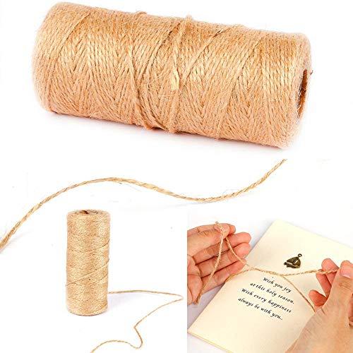 LLAAIT - Cuerda de yute natural, 100 m, cuerda de cáñamo, para fiestas, bodas, regalos, macramé, hilos, manualidades