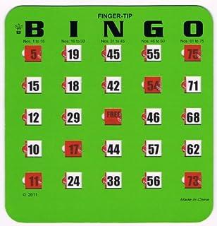 Regal Games Easy Read 4-Ply Finger-Tip Shutter Slide Bingo Cards, Green