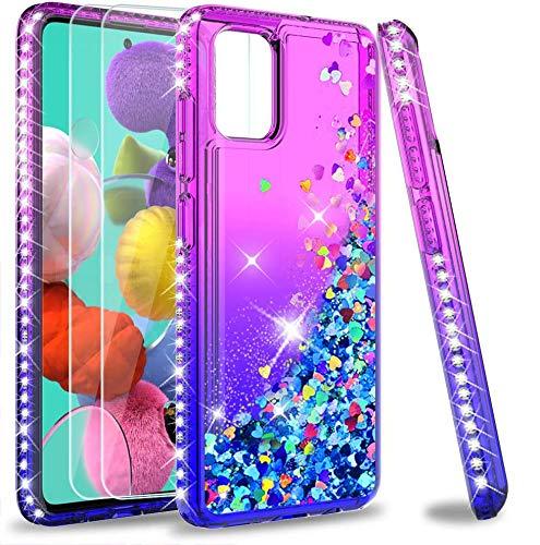 LeYi für Samsung Galaxy A51 Hülle Glitzer Handyhülle mit Panzerglas Schutzfolie(2 Stück), Diamond Cover Bumper Schutzhülle für Hülle Samsung Galaxy A51 Handy Hüllen ZX Lila Blau