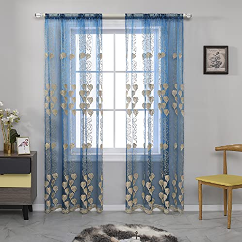 Jiyoyo M8508 Gold Teal Embroidery Leaves Top Pocket Sheers Curtains for Living Room Bedroom Voile Drape Embroidered Botanical Semi Sheer,1 Panel 84 inches Long