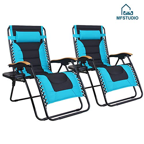 MFSTUDIO Oversized Zero Gravity Chair XL Patio Recliners Padded Folding Chair with Cup Holder, Extra Wide Chaise Lounge for Poolside Outdoor Yard Beach, Set of 2 - Pacific Blue