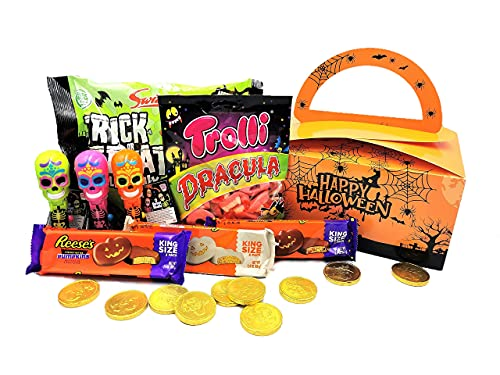 Halloween Trick or Treat Chocolate Sweets Candy Mix. Lolly Mix, Pirate Cold Coins, Trolli Dracula Gummy Sweets, Trick or Treat Lolly Mix, in Halloween Themed Party Gift Box – 1100g