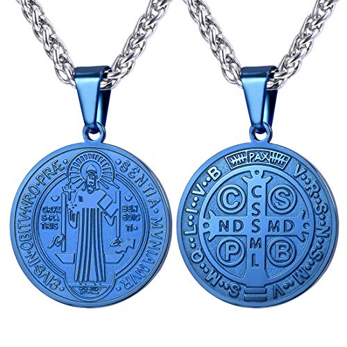 U7 Christian Sacramental Medal Necklace Ion-Plating Blue Metal Pendant & Stainless Steel Rope Chain 22' Saint Benedict Medal Necklace for Men, Send Gift Box