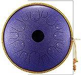 Tambor Handpan, Tambor de la lengua de acero 14 pulgadas Regalo de instrumentos 14 Tono Curación Música Hecho a mano Tambor Rendimiento de sonido con bolsa de batería Bolsa (Color: Oro) ,Hecho en EE.U