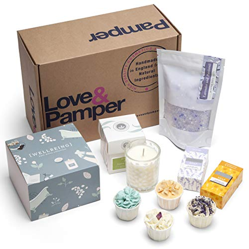 Relaxation Pampering Wellbeing Gift Set - 4 Relaxation Bath Melts, Dead Sea Bath Salts - Lavender/Patchouli Bath, Soy Wax Glass Candle - Wild Honeysuckle, Lavender Soap, Sweet Orange Soap