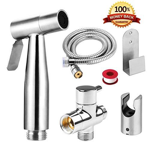 WUPYI2018 Pommeau de douche avec tuyau adaptateur de douchette pour bidet WC et robinets muraux en acier inoxydable