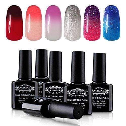 Perfect Summer Temperature Changing Color Gel Nail Polish Soak Off UV LED Gel Varnish Pack of 6PCS Set 20