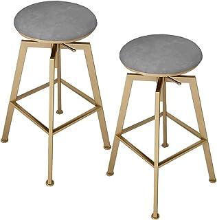 Bar Stools Set of 2, 2 Pcs Barstools Grey High Stools, Breakfast Kitchen Chairs, Counter Bar Chairs, Grey Velvet Seat, Met...