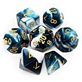 Haxtec Swirl DND Dice Set 7PCS Polyhedral D&D Teal Dice for Roleplaying Dice Games as Dungeons and Dragons (Teal White)