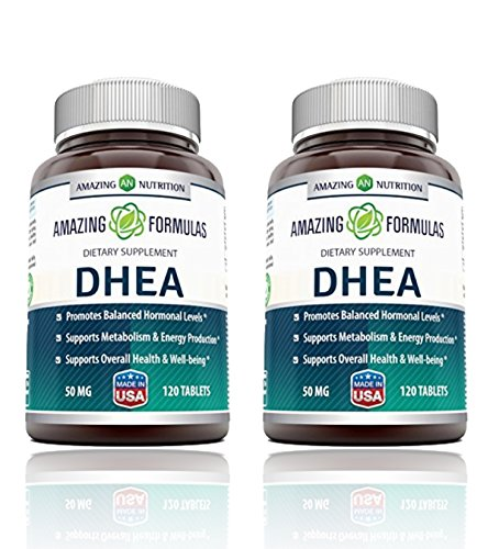 Amazing Nutrition Amazing Formulas DHEA Supplement - 50mg 120 Tablets Dehydroepiandrosterone Hormone Tablets for Men and Women - Easier to Use Than Cream - 2 Pack