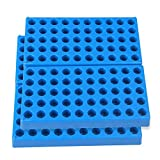 4 Packs Vial Rack Single Blue Vial Holders for 50 Standard 12 mm 2ml Vials Centrifuge Tube...