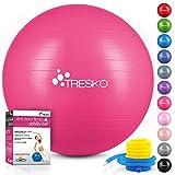 TRESKO Ballon de Gymnastique | Anti-éclatement | Boule d'assise | Balle de Yoga | Balles d'exercices Fitness | 300 kg | avec Pompe à air | Rose | 55cm
