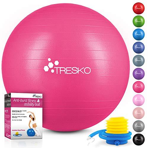 TRESKO® Ballon de Gymnastique   Anti-éclatement   Boule d'assise   Balle de Yoga   Balles d'exercices Fitness   300 kg   avec Pompe à air   Rose   55cm