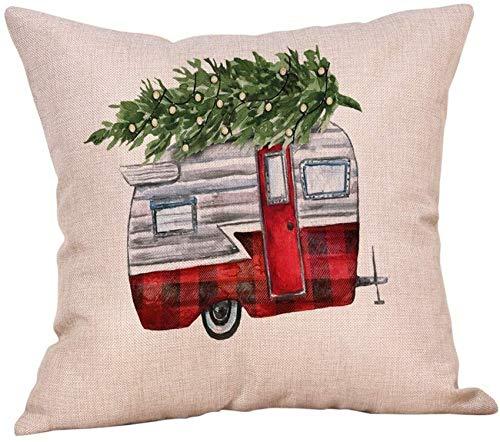 XXLYY Merry Christmas Linen Pillowcase Christmas Pillow Cases Cotton Linen Sofa Cushion Cover Home Decor Cover Decoration Cute Decor Cushion Throw Pillow Case for Chair,Car, Home 18' X 18'inch