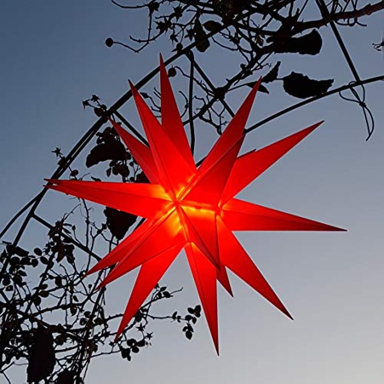 Mit LED 20-Zack Auenstern rot, Outdoorstern inkl. Auenkabel Auensterne, Leuchtmittel StaRt-NDL-DUH-E14-3,5W 104 SMD Dioden