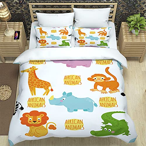 Juego de ropa de cama de cocodrilo, funda nórdica africana, ropa de cama 135 x 200, AFFE, león,...