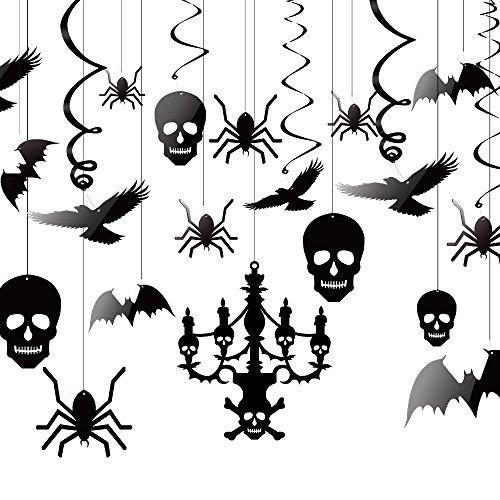 KUUQA Halloween Hängende Dekorationen Decke Dekoration der Kronleuchter Fledermaus Krähe Spinne Schädel für Haunted Haus Dekoration, Satz von 20