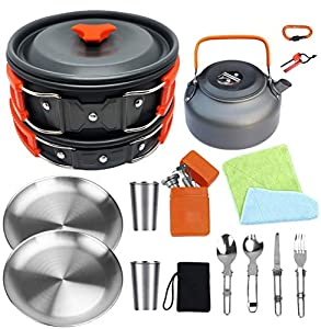 Bisgear Camping Cookware 18/8 Plates Outdoor Stove Kettle Pot Pan Mess Kit Stainless Steel Cup Utensil Backpacking Gear Bug Out Bag Cooking Equipment Picnic Cookset Carabiner Fire Starter for 2 Person
