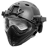 SHENKEL PJタイプ FAST ヘルメット フルフェイス マスク ゴーグル 取り外し可能 (ブラック) サバゲー装備 サバイバルゲーム メンズ レディース ミリタリー タクティカル