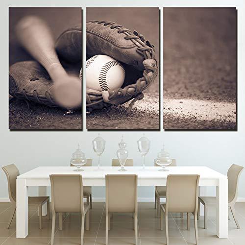 ZXCVWY 3 Platten Wandkunst Dekoration Leinwand Baseball Gemälde Bilder Moderne Hd Drucke Poster Für Wohnzimmer