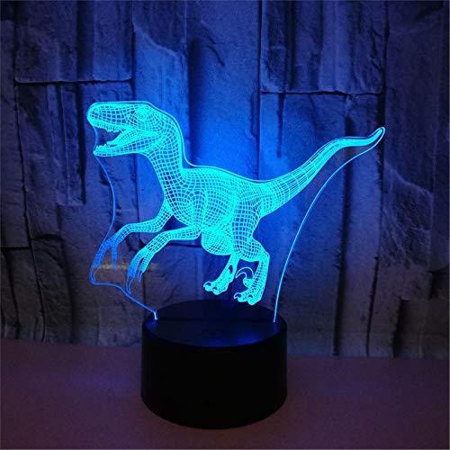 LBJZD luz de noche Luz Led 3D Noche Creativa Modelo De Dinosaurio Ilusión Dormitorio Sala De Estar Animal 7 Colores Lámpara De Mesa De Escritorio Usb Juguete Para Niños Regalo Sin Mando A Distancia