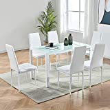 IDS Online Deluxe Glass Dining Table Set 7 Pieces Modern...