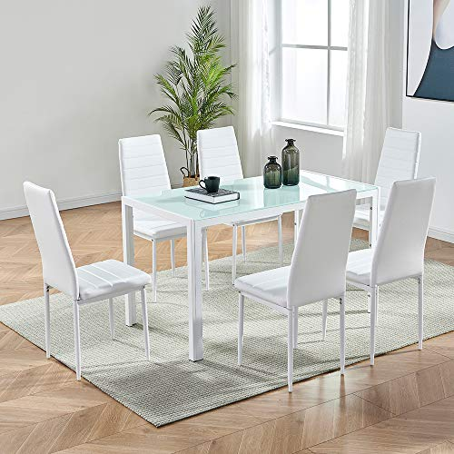IDS Online Deluxe Glass Dining Table Set 7 Pieces Modern Design With Faux Leather Chair Elegant Style Anti Dirt, White