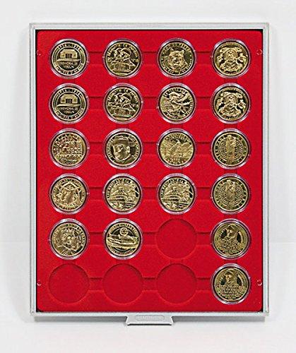 LINDNER Das Original Box Monnaies Standard à 24 alvéoles Ronds pour Capsules Ø ext. 41 mm
