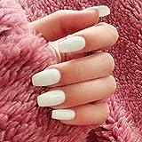 Handcess Coffin brillante uñas postizas medianas blancas bailarinas de color puro para mujeres y niñas